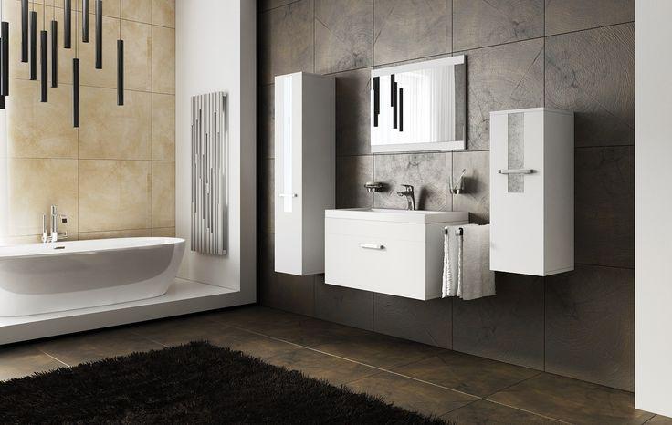 Bathroom in white colour.  http://www.mirjan24.pl/meble-lazienkowe/5314-meble-lazienkowe-jump-5900102901821.html #łazienka #bathroom #mirror #home