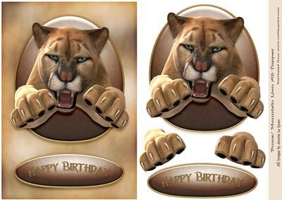 Puma Mountain Lion A5 Birthday Topper on Craftsuprint - Add To Basket!