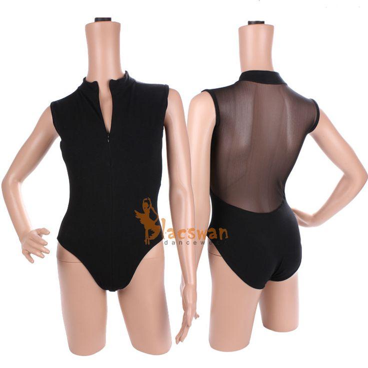 Adult turtle neck zipper mesh leotards ballet clothing $6.99~$8.69