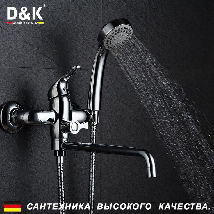 Купить D&K DA1373301 Высокое Качество Ванна Кран, Однорычажный смеситель для ванны с поворотным и удлинительным изливом, Керамический картридж 35мм, эксцентрик, душевой шланг, хромированная поверхность, Медные материалыи другие товары категории Смесители для ванной и душав магазине D&K Official StoreнаAliExpress. кран набор и кран стандартов