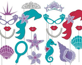 princess castles photobooth | Mermaid party photo booth props - printable - Under the Sea party, The ...