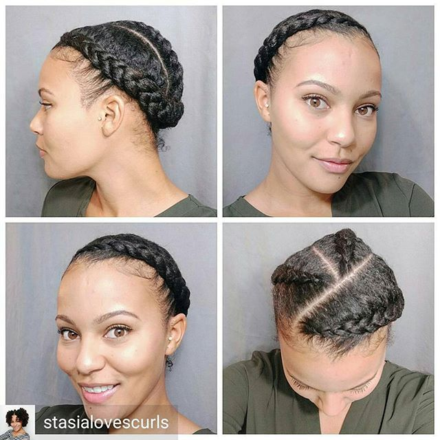 @Regrann from @stasialovescurls -  Braided style from last week. I did three braids instead of two.   #braids #protectivestyle #kinky_chicks1 #kinkychicks #naturalhair