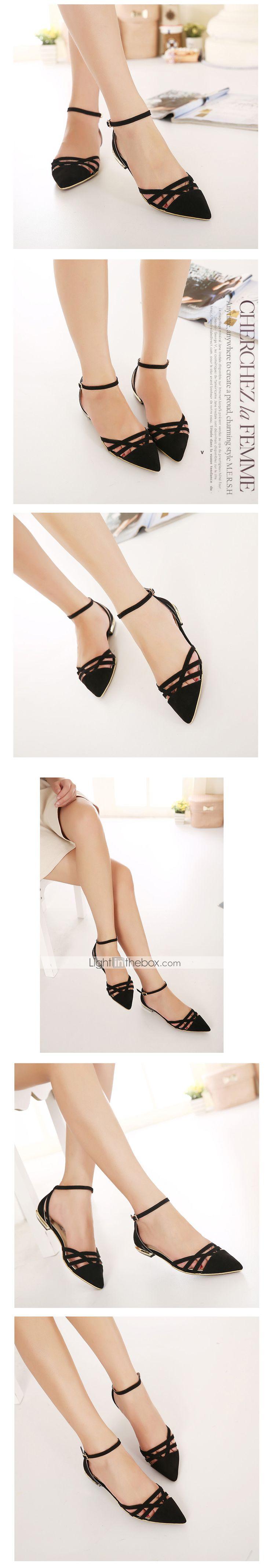 Calçados Femininos Camursa Sintética Rasteiro Conforto/Bico Aberto Sandálias Social/Casual Preto - JPY ¥ 2,232