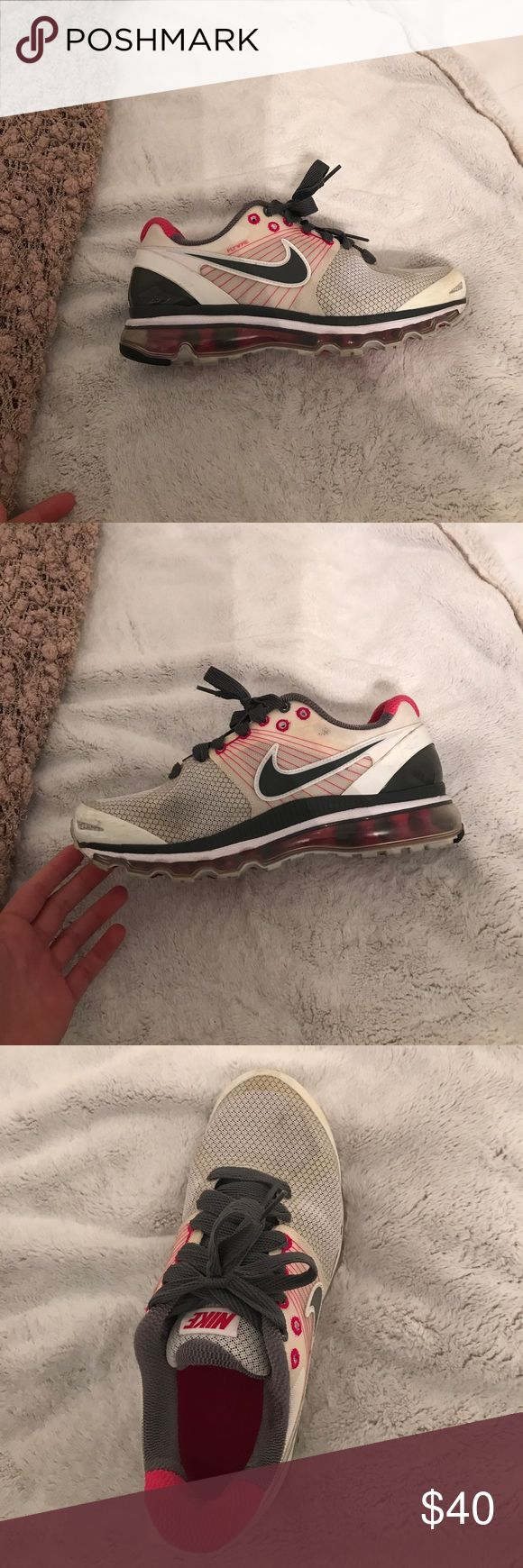 Pink and white air max 360 These adorable pink, white and grey air max 360's are comfy and very cute. They are in really good condition. They have some scuffing in the toes. They are perfect for both working out and athlesure. Nike Shoes Sneakers