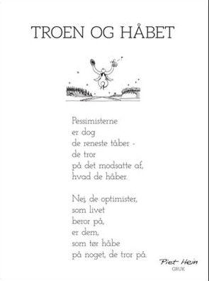 bryllupskort citat Piet Hein, Gruk, Troen og håbet  bryllupskort citat