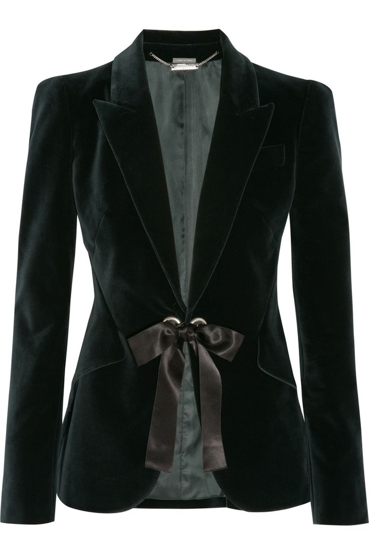 Alexander McQueen Ribbon-trimmed velvet jacket  NET-A-PORTER.COM