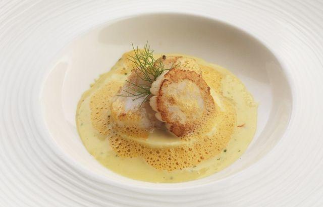 Scallop Mousse. Chef Marcello Tully, Kinloch Lodge, Isle of Skye, Scotland.