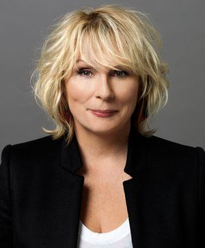 Jennifer Saunders in Stella McCartney blazer and  Helmut Lang T-shirt