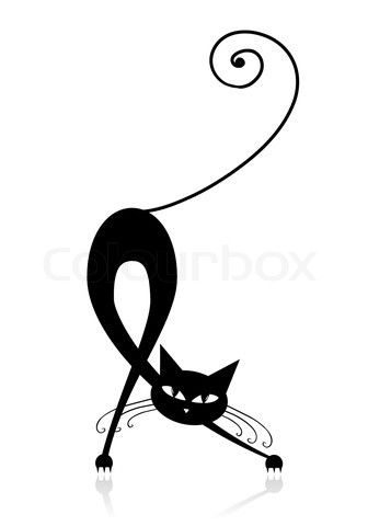 Vector of 'Graceful black cat silhouette for your design' on Colourbox