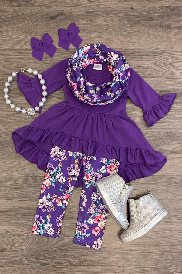 5cb095497b65f3 PURPLE DAISY HI-LOW SCARF SET Adorable Affordable Girls Baby Clothing A  Little Bitty Boutique