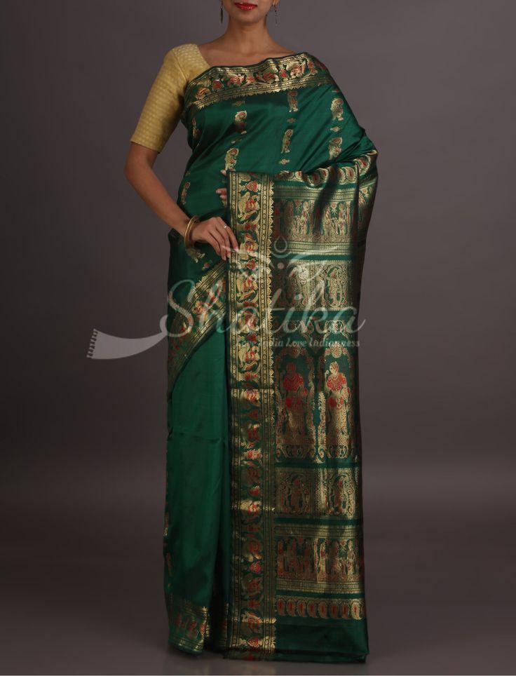 Riya Epic Motifs In Golden Thread Fresh Green Baluchari Saree