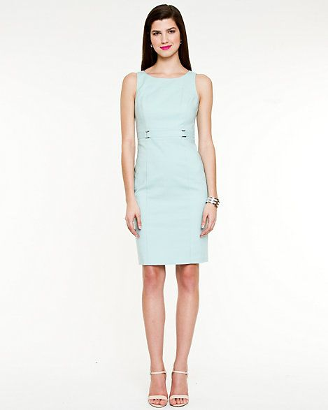 Double Weave Boat Neck Belted Dress