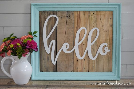 FINISHED Reclaimed Wood Aqua Hello Sign