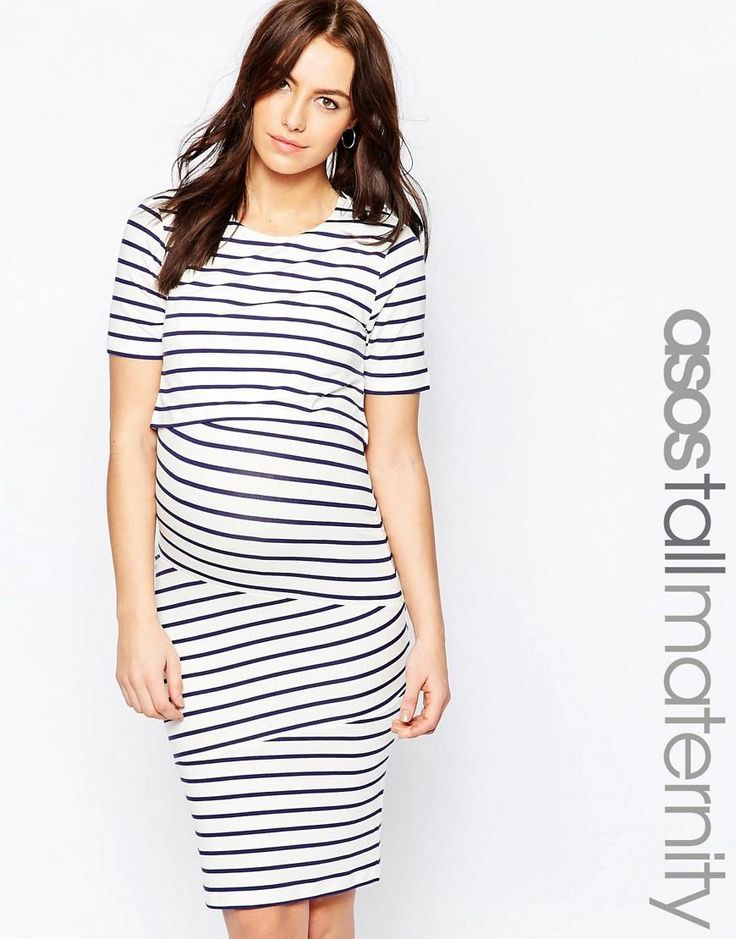 ASOS Maternity | ASOS Maternity TALL NURSING Double Layer Bodycon Dress in Stripe at ASOS