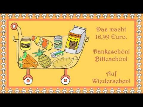 Im Supermarkt (Deutsch als Fremdsprache für Kinder - learn German - apprendre l'allemand) - YouTube