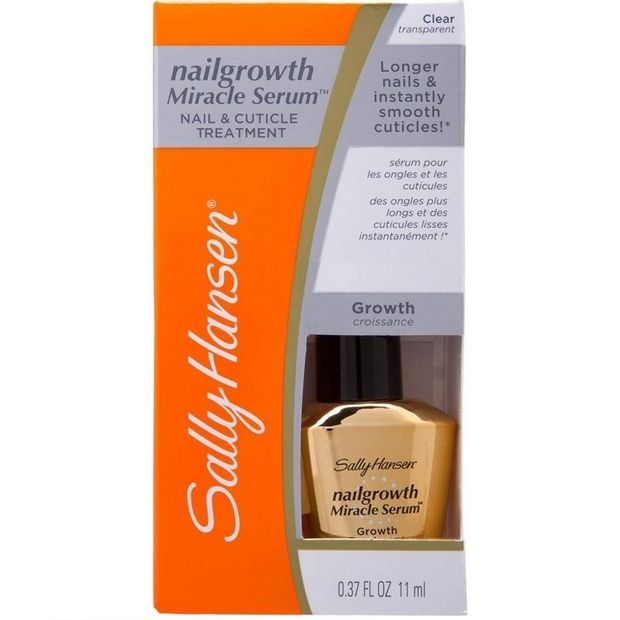 ΤοSally Hansen Nail Growth Miracle Serum Nail & Cuticle Treatment υπόσχεται να σας δώσει έως και 59% μακρύτερα νύχια! Η προηγμένη σύνθεσή του με πεπτίδια και Βιοτίνη ενισχύει την φυσική ανάπτυξη των νυχιών, κάνοντας τα σκληρά και χωρίς να σπάνε. Επίσης, περιποιείται τα πετσάκια των άκρων σ