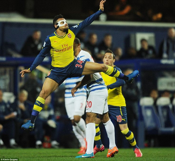 The French midfielder at full stretch in mid air during the Premier League clash on Wednesday evening