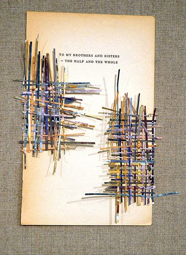 Larissa Nowicki, 'Dedication weaving: To my brothers and sisters - the half and the whole', Dedication pages with hand-cut paper weavings fr...