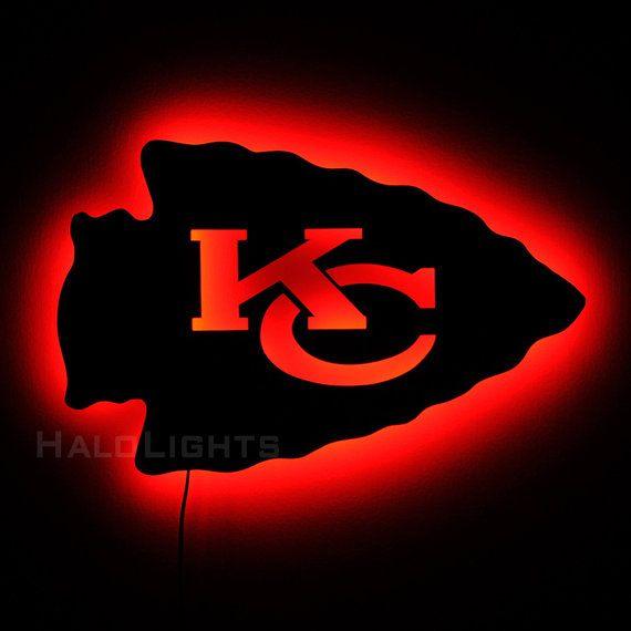 Lighted Kansas City Chiefs Sign - LED Backlit Chiefs Logo Sign