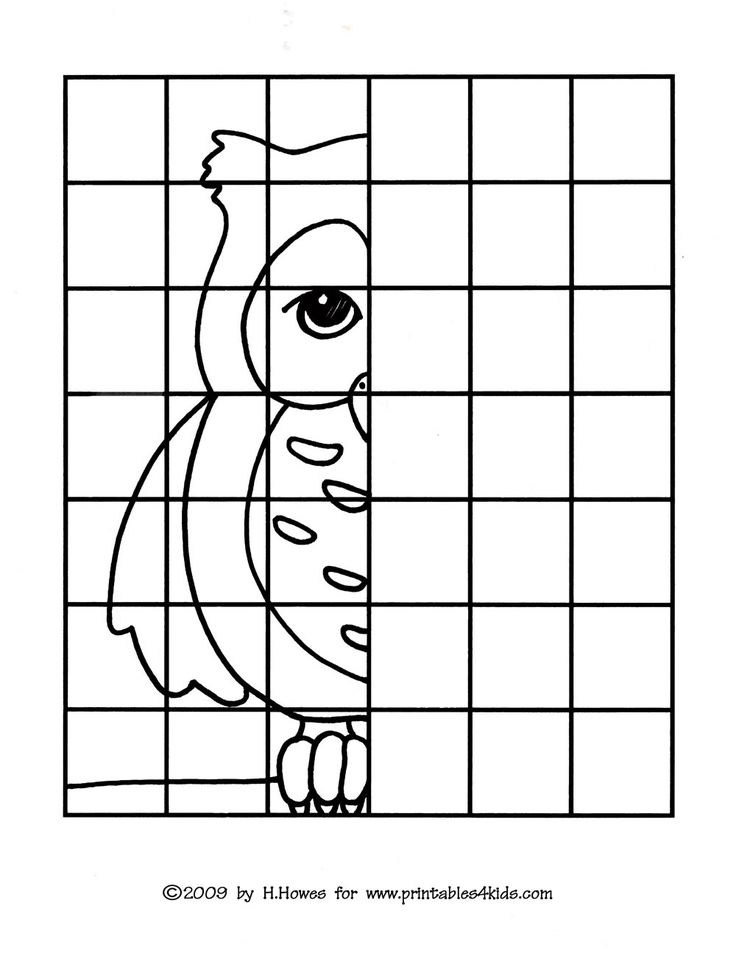 Mirror images coloring pages ~ Owl Complete the Picture Drawing : Printables for Kids ...