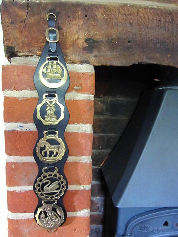 Vintage Horse brass on leather set of five original brasses