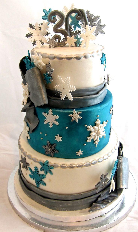Winter Wonderland 30th birthday cake -