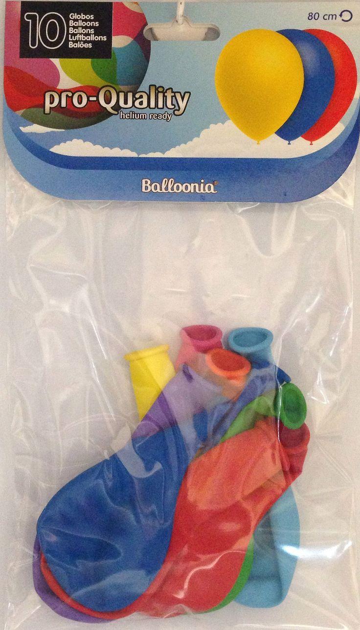 DisfracesMimo, bolsa 10 globos de colores pro 80 cm para fiestas. Comprar globos baratos. Ideal para decoraciones de festivales en grupos, colegios o cumpleaños.