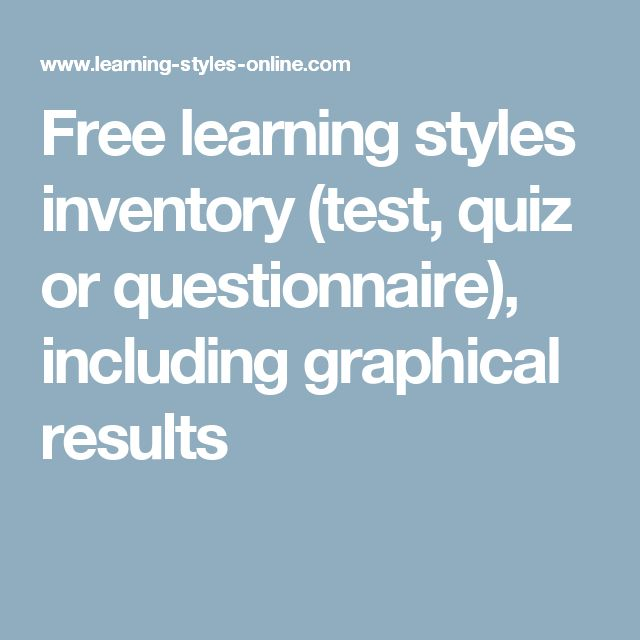 Free learning styles inventory (test, quiz or questionnaire), including graphical results