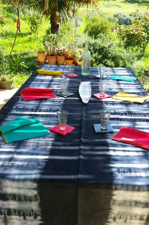 Hand dyed pure Italian linen tablecloth