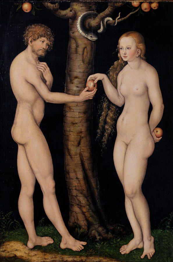 Eve offering the apple to Adam  - Adam And Eve In The Garden Of Eden Fine Art Print