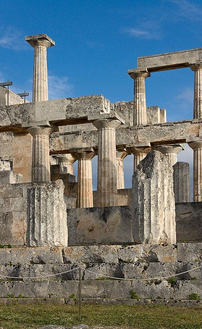 Temple of Aphaea, first built 500 B.C. and then again 570 B.C. dedicated exclusively to the goddess Aphaia, located on the Greek island Aegina.