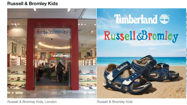 STRATFORD CITY & SHOREDITCH    Russell & Bromley stocks leading kids footwear brands such as Start-rite, Clarks, Timberland, Skechers, Ecco, Kickers, Nike, Converse, DC, Ralph Lauren, Crocs, Lelli Kelly, Geox, Hunter and Lacoste, as well as its own R collection.    Russell & Bromley  Lower Ground Floor  Westfield Stratford City  Olympic Park  London, E20   Open: Mon-Fri 10am-9pm, Saturdays 9am-9pm, Sundays 12pm-6pm  Tel: +44 (0) 20 8290 2626  www.russellandbromley.co.uk    CHECK IT OUT!***