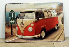 California VW Bus Embossed Vintage Retro Metal Tin Sign Pub Bar Wall Decor 8x12""