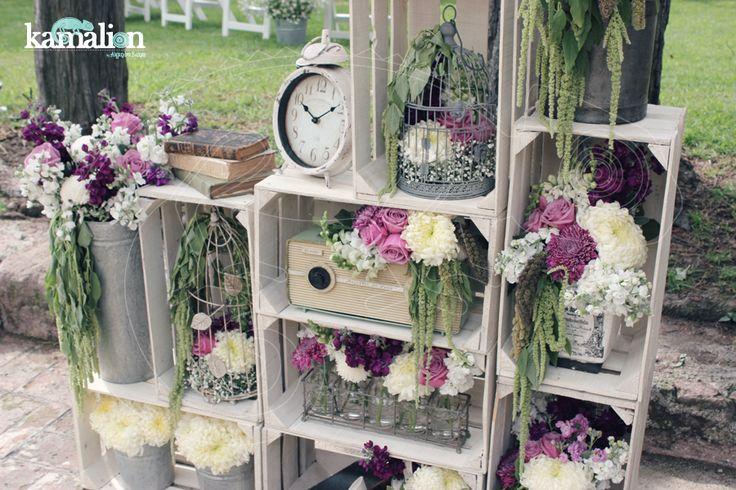 www.kamalion.com.mx - Decoración / Arreglos / Lila & Gris / Lilac & Gray / Vintage / Rustic Decor / Wedding / Boda / Bautizo / Flores.