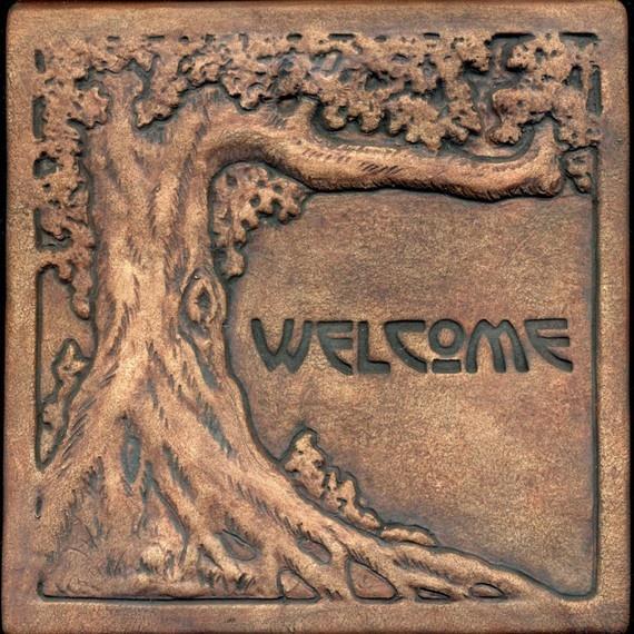 Craftsman style Old Oak Welcome tile. $49.95, via Etsy.