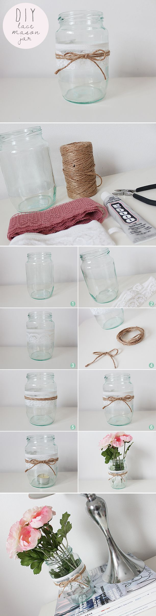 DIY Lace Mason Jar - Nouvelle Daily