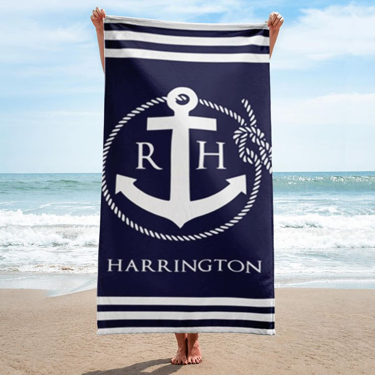 Beach Towels, Monogrammed Beach Towels, Personalized Beach Towels, Nautical Rope and Anchor Monogram Beach Towel, Monogram Beach Towel http://etsy.me/2FnZ5Hc #housewares #bathroom #blue #white #bathtowels #personalized #monogram #monogrambeachtowel #anchorbeachtowels
