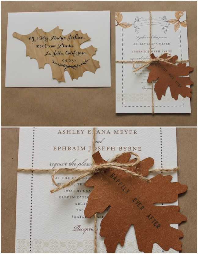 Add a DIY wood leaf for your fall wedding invitation!
