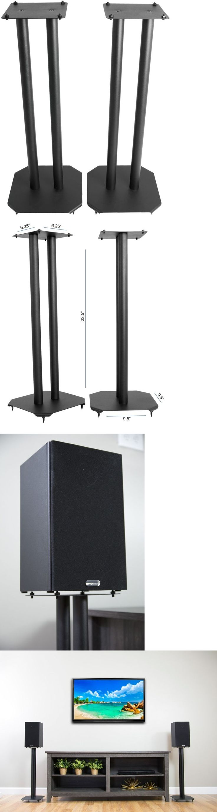 Speaker Mounts and Stands: Floor Speaker Stands Universal For Surround Sound Satellite Book Shelf Speakers -> BUY IT NOW ONLY: $48.59 on eBay!