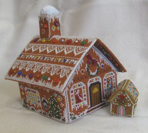 Teeny Weeny Cross Stitch Cottage 3: It's finished!  The little cottage is shown here with the Gingerbread Stitching House etui from Victoria sampler - see Janet Granger's Blog