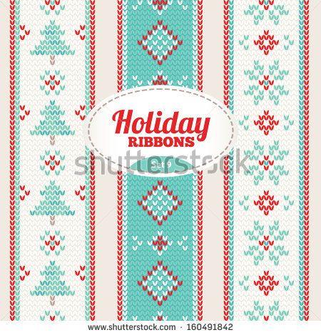 Set of holiday ribbons - stock vector. Knitting ornaments.