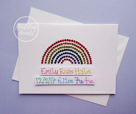New baby card  Handmade rainbow personalised new baby card