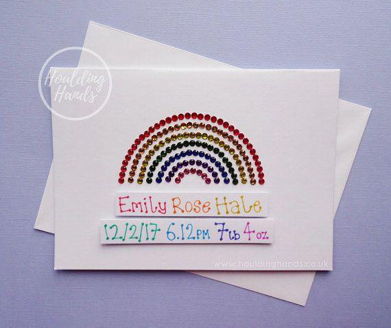New baby card  Handmade rainbow personalised new baby card