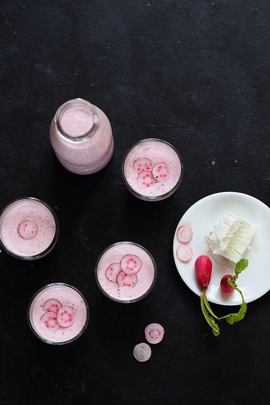 Soupe froide de radis rose et chèvre