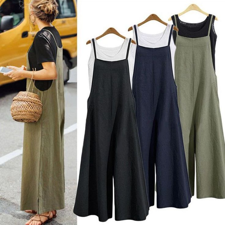 Vova | Women Fashion Loose Casual Palazzo Pants Trousers Overalls Summer Jumpsui…