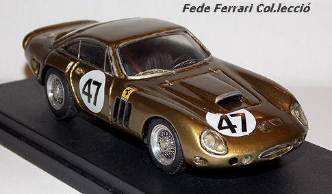 Ferrari 330LMB nº47 de Dan Gurney, 3º en Bridgehampton 500 en 1963. Modelo de Jolly Model a escala 1:43, relizado en serie limitada de 400 ejemplares, modificado y pintado por KitCar 43, para acercar su aspecto al modelo real. Pieza 46/400/1