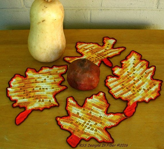Fall Maple and Oak Leaf Coasters in Filet Crochet  Set of 4  #bmecountdown