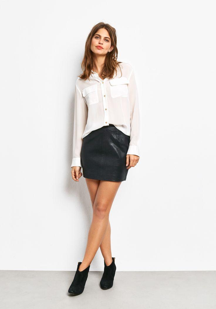 Stretch Leather Mini Skirt