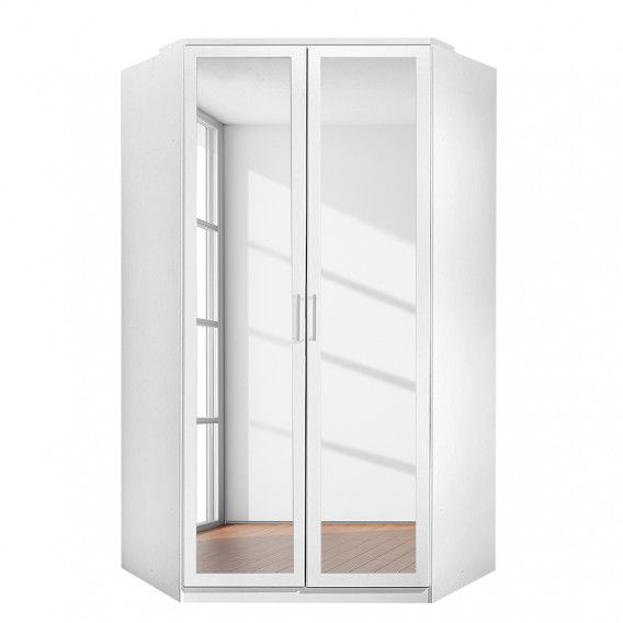 Armoire d'angle avec miroir Clack – Blanc alpin / Chêne brut de sciage – Blanc alpin