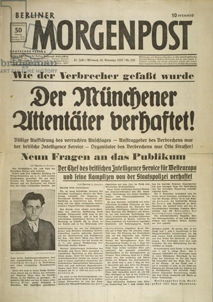 Front page of the German newspaper